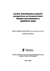 cardiac rehabilitation thesis The effects of a three month cardiac rehabilitation program on cardiovascular endurance, ejection fraction, and quality of life a thesis presented by.