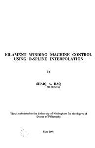 Filament winding machine control using B-spline interpolation