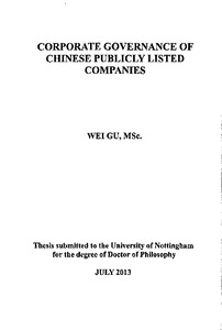 Doctoral thesis on corporate governance