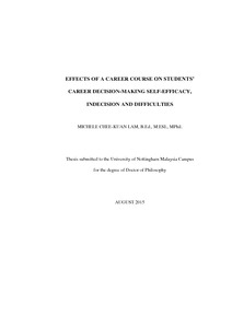 career decision making thesis Making a career choice is a defining phase in every student's life students have  to consider  parental education, profession and income on the career decisions  of 432 students from two public  dissertation, university of wisconsin- stout.